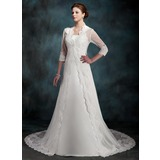 A-Line/Princess Chapel Train Satin Wedding Dress (002011517)