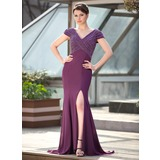 Mermaid V-neck Sweep Train Chiffon Mother of the Bride Dress With Beading (008018937)