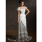 Sheath/Column Square Neckline Chapel Train Tulle Charmeuse Wedding Dress With Lace Beading Crystal Brooch