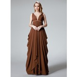 Empire V-neck Floor-Length Chiffon Bridesmaid Dress With Ruffle Sash (007004327)