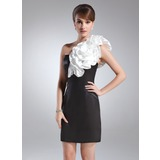 Sheath/Column One-Shoulder Short/Mini Charmeuse Cocktail Dress With Sash Flower(s)