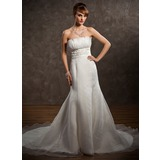 Empire Scalloped Neck Chapel Train Organza Satin Wedding Dress With Ruffle Lace Beadwork (002001323)