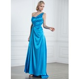 A-Line/Princess One-Shoulder Sweep Train Charmeuse Prom Dress With Ruffle Beading (018005240)