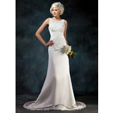 Sheath/Column Scoop Neck Court Train Satin Wedding Dress With Lace Beadwork Sequins (002004594)