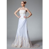 A-Line/Princess Strapless Court Train Satin Tulle Wedding Dress With Lace Beading