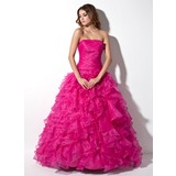 Ball-Gown Strapless Floor-Length Organza Quinceanera Dress With Ruffle (021020809)
