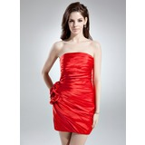 Sheath Strapless Short/Mini Charmeuse Cocktail Dress With Ruffle Flower(s) (007021074)