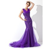 Mermaid Cowl Neck Court Train Tulle Charmeuse Mother of the Bride Dress With Beading (008006078)