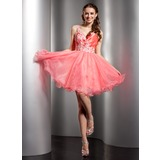 A-Line/Princess One-Shoulder Short/Mini Organza Homecoming Dress With Ruffle Beading Appliques Lace Sequins