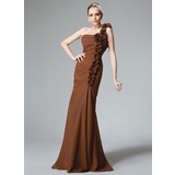 Mermaid One-Shoulder Floor-Length Chiffon Bridesmaid Dress With Ruffle Flower(s) (007004568)