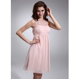Empire Scoop Neck Knee-Length Chiffon Homecoming Dress With Ruffle Lace Beading (022020868)