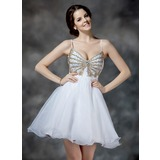 A-Line/Princess V-neck Short/Mini Organza Homecoming Dress With Ruffle Beading