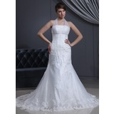 Trumpet/Mermaid Halter Chapel Train Satin Tulle Wedding Dress With Ruffle Lace