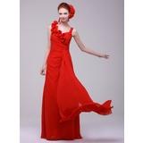 A-Linie/Princess-Linie Herzausschnitt Bodenlang Chiffon Festliche Kleid mit Rüschen