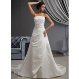 A-Line/Princess Cathedral Train Satin Wedding Dress With Embroidery Ruffle Beadwork
