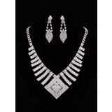 Jewelry (Marvelous Czech Rhinestones With Alloy Plated Wedding Bridal Necklace And Earrings Jewelry Set 011005482)
