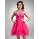 A-Line/Princess Halter Knee-Length Tulle Cocktail Dress With Ruffle Beading Sequins