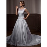Ball-Gown Scoop Neck Chapel Train Organza Satin Wedding Dress With Embroidery Beadwork (002011445)