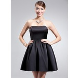 A-Line/Princess Sweetheart Short/Mini Satin Bridesmaid Dress With Ruffle