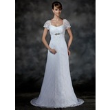 Empire Scoop Neck Court Train Satin Lace Wedding Dress With Beading