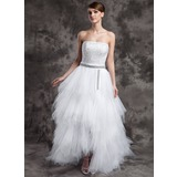 A-Line/Princess Strapless Asymmetrical Tulle Prom Dress With Beading Sequins Cascading Ruffles