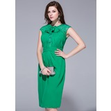 Sheath/Column Scoop Neck Knee-Length Chiffon Lace Cocktail Dress With Cascading Ruffles
