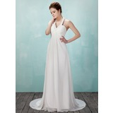 Empire Halter Court Train Chiffon Wedding Dress With Ruffle Beadwork (002011555)