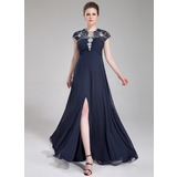 A-Line/Princess Scoop Neck Floor-Length Chiffon Evening Dress With Ruffle Beading Sequins Split Front