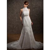 Trumpet/Mermaid High Neck Chapel Train Satin Tulle Wedding Dress With Lace Beading