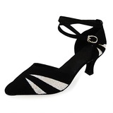 Women's Sparkling Glitter Nubuck Heels Pumps Modern With Ankle Strap Dance Shoes