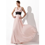 A-Line/Princess Halter Floor-Length Chiffon Evening Dress With Ruffle Lace (017021127)
