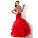 Trumpet/Mermaid Sweetheart Floor-Length Organza Prom Dress With Beading Sequins Cascading Ruffles