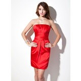 Empire Strapless Short/Mini Satin Bridesmaid Dress With Ruffle