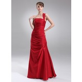 Sheath One-Shoulder Floor-Length Taffeta Desperate Housewives Style Dresses With Ruffle (025003980)