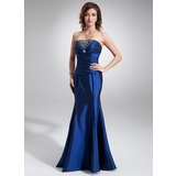 Mermaid Strapless Floor-Length Taffeta Bridesmaid Dress With Ruffle Beading (007001061)