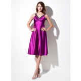 Empire V-neck Knee-Length Charmeuse Bridesmaid Dress With Ruffle Beading (022016088)