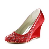 Women's Satin Wedge Heel Closed Toe Pumps With Rhinestone