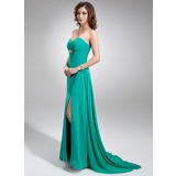 Empire Sweetheart Sweep Train Chiffon Prom Dress With Ruffle Beading (018005042)