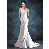 Mermaid Strapless Court Train Taffeta Wedding Dress With Ruffle Lace Beadwork (002000494)