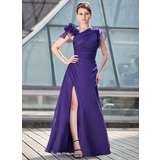 A-Line/Princess Floor-Length Chiffon Mother of the Bride Dress With Ruffle Beading Flower(s)