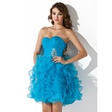 A-Line/Princess Sweetheart Short/Mini Organza Homecoming Dress With Beading Cascading Ruffles