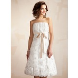 A-Line/Princess Scalloped Neck Tea-Length Satin Lace Wedding Dress With Ruffle Sashes (002011527)