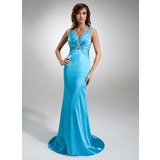 Trumpet/Mermaid V-neck Sweep Train Charmeuse Prom Dress With Ruffle Beading