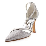 Sparkling Glitter Stiletto Heel Closed Toe Pumps Wedding Shoes With Rhinestone (047010755)