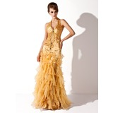 Mermaid Halter Floor-Length Organza Charmeuse Prom Dress With Ruffle Beading (018005067)