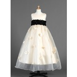 Empire Scoop Neck Ankle-Length Organza Charmeuse Flower Girl Dress With Sash Flower(s) (010014654)
