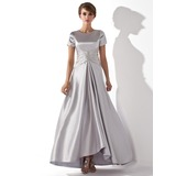 A-Line/Princess Scoop Neck Asymmetrical Charmeuse Mother of the Bride Dress With Ruffle Beading