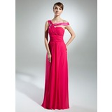 A-Line/Princess Off-the-Shoulder Sweep Train Chiffon Charmeuse Prom Dress With Ruffle Beading (018015333)