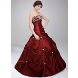 Ball-Gown Strapless Floor-Length Taffeta Quinceanera Dress With Embroidered Lace Beading Sequins (021020630)