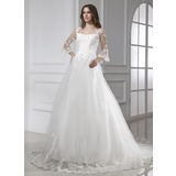 Ball-Gown Square Neckline Chapel Train Satin Tulle Wedding Dress With Lace